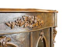 Detail van een oud Italiaans houten die meubilair van de 19de eeuw enkel op witte achtergrond voor gemakkelijke selectie wordt he royalty-vrije stock afbeeldingen