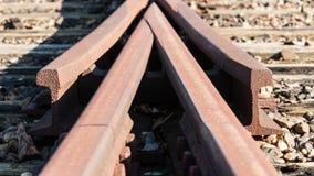 Detail van een oud Spoorweg swith spoor Stock Afbeelding