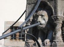 Detail van een oude fontein met het hoofd van een leeuw aan Viterbo in Italië Royalty-vrije Stock Foto