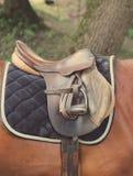 Detail van een paardzadel Stock Foto