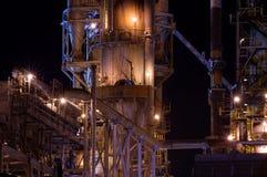 Detail van een raffinaderij bij nacht 3 Royalty-vrije Stock Foto's