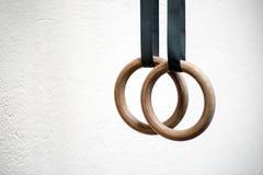 Detail van een reeks ringen in een gymnasium Stock Fotografie