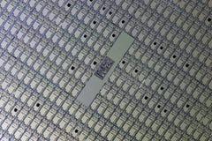 Detail van een siliciumwafeltje stock afbeelding