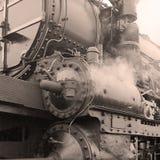 Detail van een stoomlocomotief stock foto's