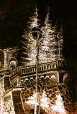Detail van een straatlantaarn in oude stad, potloodtekening, kleureneffect op abstracte achtergrond stock illustratie
