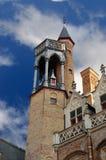 Detail van een toren in Brugge, België. royalty-vrije stock afbeeldingen