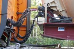 Detail van een vrachtwagen Hydraulica 24V royalty-vrije stock afbeelding