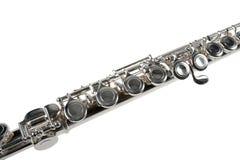 Detail van een Zilveren Fluit op Wit Royalty-vrije Stock Fotografie