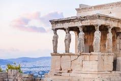 Detail van Erechtheion in Akropolis van Athene, Griekenland Royalty-vrije Stock Afbeelding