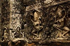 Detail van Fries op Oude tempel in Kambodja Stock Fotografie