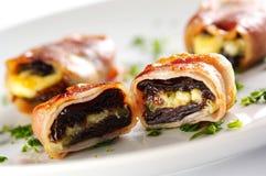 Detail van gebakken ham en gorgonzola kaas royalty-vrije stock afbeelding