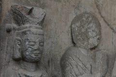 Detail van gesneden steen Boedha Stock Foto's