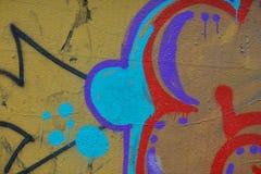Detail van Graffiti op geschilderde muur royalty-vrije stock afbeeldingen