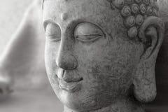 Detail van grijs steencijfer van Boedha stock foto's