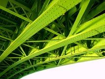 Detail van groene ijzerbrug Stock Afbeeldingen