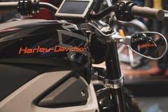 Detail van Harley-Davidson-motor bij EICMA 2014 in Milaan, Italië Stock Foto