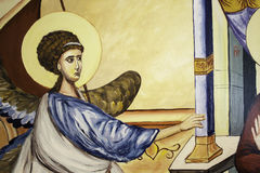 Detail 3 van het aankondigings Orthodox pictogram Stock Foto