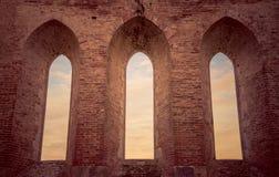 Detail van het binnenland van de Abdij van San Galgano, Toscanië Royalty-vrije Stock Afbeeldingen