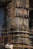 Detail van het dokken van booreiland bij de Scheepswerf van Gdansk onder concept Stock Fotografie
