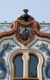 Detail van het huis van architect Ferenc Raichle in Subotica Stock Foto