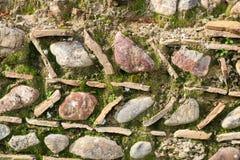 Detail van het ongebruikelijke oude ontwerp en het patroon van de rotsmuur in Olympia Greece waar eerste Olympics werden gehouden royalty-vrije stock fotografie