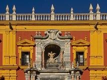 Detail van het Paleis van de Bischop van Malaga stock afbeeldingen