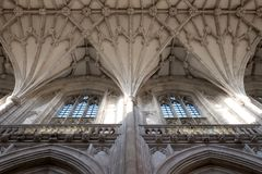 Detail van het plafond bij de Kathedraal van Winchester, Hampshire, het UK stock foto's