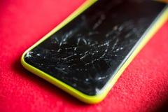 Detail van het verbrijzeld smartphonescherm Royalty-vrije Stock Fotografie