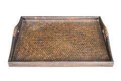 Detail van het weefseltextuur van het dienblad donkere met de hand gemaakte die bamboe op wh wordt geïsoleerd Stock Fotografie