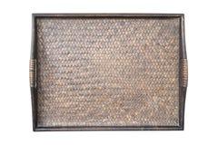 Detail van het weefseltextuur van het dienblad donkere met de hand gemaakte die bamboe op wh wordt geïsoleerd Stock Foto