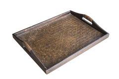 Detail van het weefseltextuur van het dienblad donkere met de hand gemaakte die bamboe op wh wordt geïsoleerd Stock Afbeelding