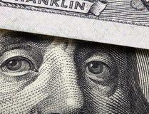 Detail van honderd dollarsrekening Stock Afbeelding