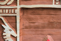 Detail van houtdrukteken Royalty-vrije Stock Fotografie