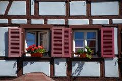 Detail van huis in Colmar Stock Foto