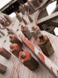 Detail van ijzerbouw van de brug Stock Afbeelding