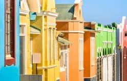 Detail van kleurrijke huizen in Luderitz - Duitse stad in Namibië stock foto's