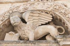 Detail van kolom en ornamenten in barokke stijl Stock Foto's