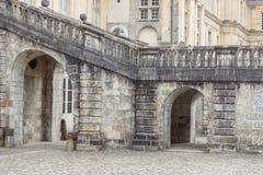 Detail van Koninklijk de jachtkasteel in Fontainebleau, Frankrijk stock afbeelding
