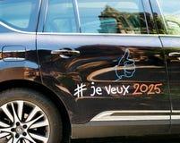Detail van luxe Renault Initiale Paris voor Expo 2025 Stock Foto's