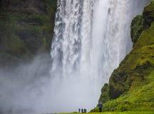 Detail van majestueuze watervallen met rotsen en gras Royalty-vrije Stock Afbeelding