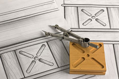 Detail van meubilair met ontwerp en kompas Stock Foto's