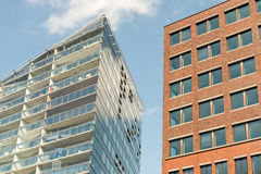 Detail van moderne vlakke gebouwen Stock Afbeeldingen