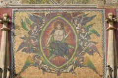 Detail van mozaïek op de voorgevel van de Kathedraal van Heiligen Vitus Stock Afbeelding