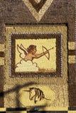 Detail van mozaïek op Graanpaleis, kant van de wegaantrekkelijkheid in het Westen Mitchell, BR royalty-vrije stock foto's