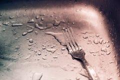 Detail van natte vork en dalingen Royalty-vrije Stock Foto