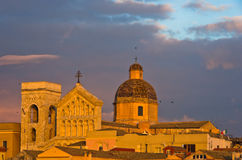 Detail van panorama het van de binnenstad van Cagliari bij zonsondergang in Sardinige Royalty-vrije Stock Foto's