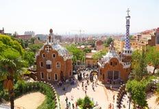 Detail van Park Guell, dat door Antonio Gaudi wordt ontworpen Stock Fotografie