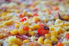Detail van pizza met graan Stock Afbeelding