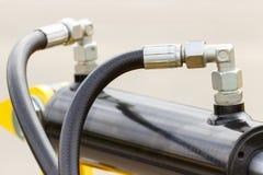 Detail van pneumatische of hydraulische machines, een deel van zuiger of actuator stock afbeelding