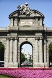 Detail van Puerta DE Alcala in Madrid, Spanje Stock Afbeeldingen